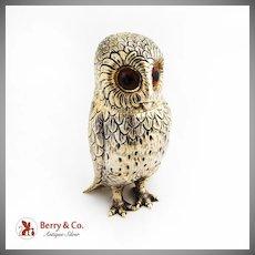 Gilt Owl Table Agar Lighter Glass Eyes Colibri Monopol Portuguese 833 Silver 1940