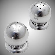Footed Ball Salt Pepper Shakers Pair Lunt Sterling Silver 1950