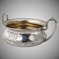 Floral Vine Open Sugar Bowl Gilt Interior Shiebler Sterling Silver 1880 NYC