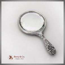 Repousse Floral Hand Mirror Gorham Sterling Silver 1896 Monogram