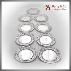 Openwork Wreath Medallion Bread Plates Set Gorham Durgin Sterling Silver 1930
