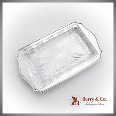 Arts And Crafts Hammered Serving Dish Cut Glass German 800 Silver 1910
