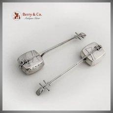 Japanese Figural Shamisen Salt Pepper Shakers Pair 950 Sterling Silver