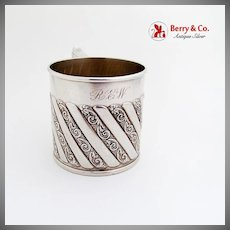 Fluted Baroque Scroll Baby Childs Cup R Wallace Sons Sterling Silver 1890