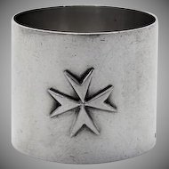 Applied Maltese Cross Napkin Ring 917 Standard Silver 1930 Malta