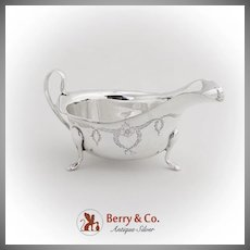 Engraved Floral Foliate Garland Gravy Boat Edward Viner Sterling Silver Sheffield