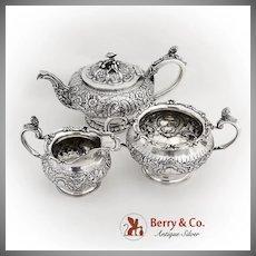 Antique Repousse Ornate 3 Piece Tea Set Figural Decorations Sterling Silver London