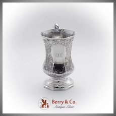 Engraved Pedestal Base Cup Scenic Decorations Gerardus Boyce Coin Silver 1830
