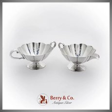 Vintage Creamer Sugar Bowl Set Fluted Bodies International Sterling Silver 1940