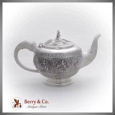 Indian Raj Figural Teapot Elephant Spout Handle Goddess Finial Sterling Silver