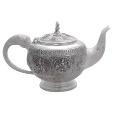 Indian Raj Figural Teapot Elephant Spout Handle Goddess Finial Sterling Silver