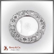 Vintage Plate Ornate Repousse Border Gorham Sterling Silver Monogram