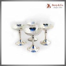 Winchester Champagne Glasses Set Cut Glass Shreve Co Sterling Silver 1915
