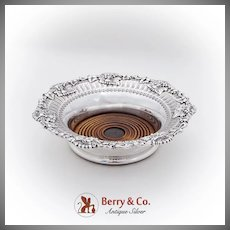 Vintage Openwork Engraved Wine Coaster Applied Vine Rim Sterling Silver