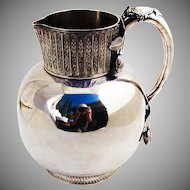 Ornate Water Pitcher Applied Blossom Decorations Silverplate 1890