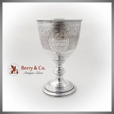 Antique Engine Turned Presentation Goblet Beaded Rims Coin Silver