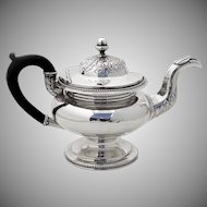 Foliate Beaded Teapot Wooden Handle J Curry Coin Silver 1830 Philadelphia