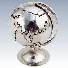 Figural Desk Globe On Stand Sterling Silver 1980 Mexico