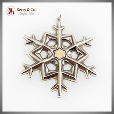 Gorham 1989 Snowflake Christmas Ornament Gold Filled Yearmark Sterling Silver