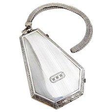Art Deco Ornate Compact Mesh Chain Sterling Silver 1920 Monogram