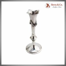 Antique Bud Vase Applied Floral Swags Gorham Sterling Silver 1872