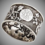 Floral Repousse Napkin Ring Leeching Chinese Export Silver 1870 Mono