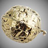 Walnut Form Vinaigrette Pendant Gilt Sterling Silver 1930