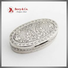 Engraved Floral Scroll Snuff Box Foliate Rims 800 Silver 1900 Germany Mono