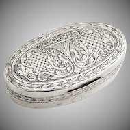 Engraved Floral Scroll Snuff Box Foliate Rims 800 Silver 1900 Germany Mono