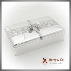 Engraved Chased Double Compartment Cigarette Box Wood Lining Sterling Silver