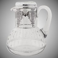 American Bedside Water Pitcher Glass Set Floral Sterling Silver Overlay 1930