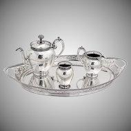 Vintage Beaded Cut Work Tea Set Tray Dutch Second Standard Silver 1900s