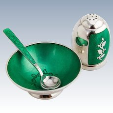 Foliate Green Enamel Salt Dish Spoon Shaker Set Danish Sterling Silver 1950