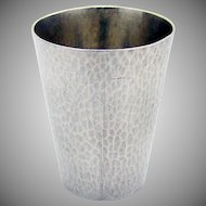 Vintage Large Hammered Shot Cup Toyokoki 950 Sterling Silver