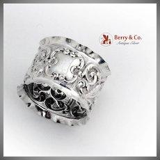 Edwardian Repousse Scroll Cherub Napkin Ring Sterling Silver 1902 Birmingham