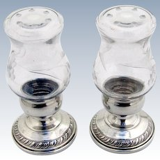 Quaker Hurricane Salt Pepper Shakers Pair Etched Glass Sterling Silver 1950