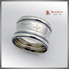Vintage Napkin Ring Violet Wallace Sterling Silver