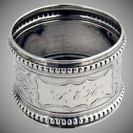Antique Beaded Engraved Napkin Ring Coin Silver 1870