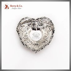 Repousse Pierced Heart Form Basket Swing Handle Ball Feet Gorham Sterling Silver