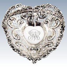Repousse Pierced Heart Form Basket Swing Handle Ball Feet Gorham Sterling Silver