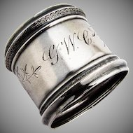 Antique Bright Cut Engraved Napkin Ring Palmette Rims Coin Silver 1880