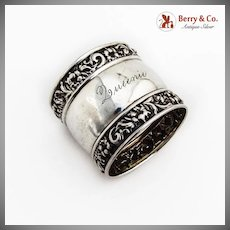 Repousse Floral Napkin Ring Watrous Co Sterling Silver 1900