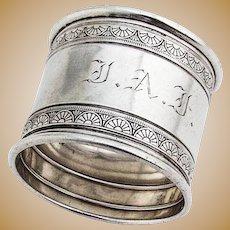 Ornate Napkin Ring Gorham Sterling Silver 1881 Date Mark Monogram