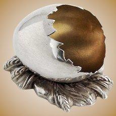Figural Eggshell Salt Dish Gilt Interior Gorham Sterling Silver 1870 Date Mark