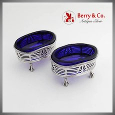 Cut Work Master Salts Pair Cobalt Inserts Claw Ball Feet Sterling Silver 1910 London