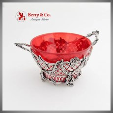 Ornate Cut Work Serving Bowl Ruby Glass Insert Dutch 833 Standard Silver 1900