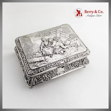 Repousse Ornate Table Box Courting Couple Scene German 800 Silver 1890