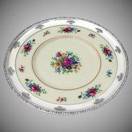 Lenox Rose Dinner Plate Wide Repousse Rose Rim Sterling Silver 1940
