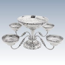Engraved Epergne 4 Arms Large Center Bowl Repousse Grapes English Silverplate