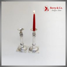 Antique Empire Candlesticks Pair Applied Wreaths Continental European Silver